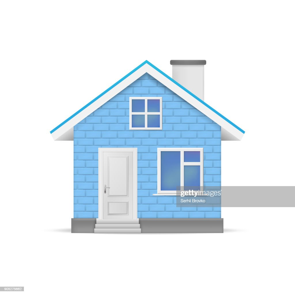 3D realistic house isolated on white background. Vector illustration.