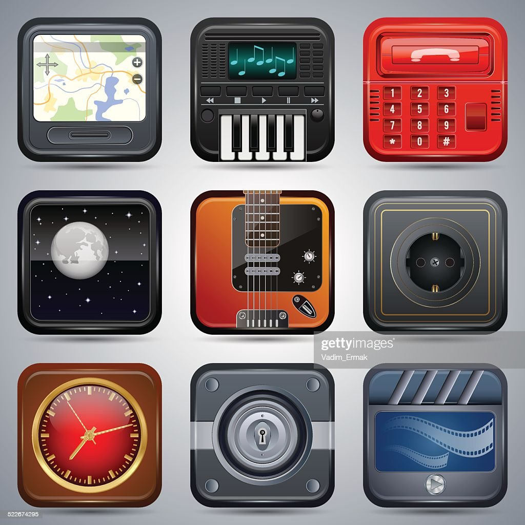 Realistic icons collection