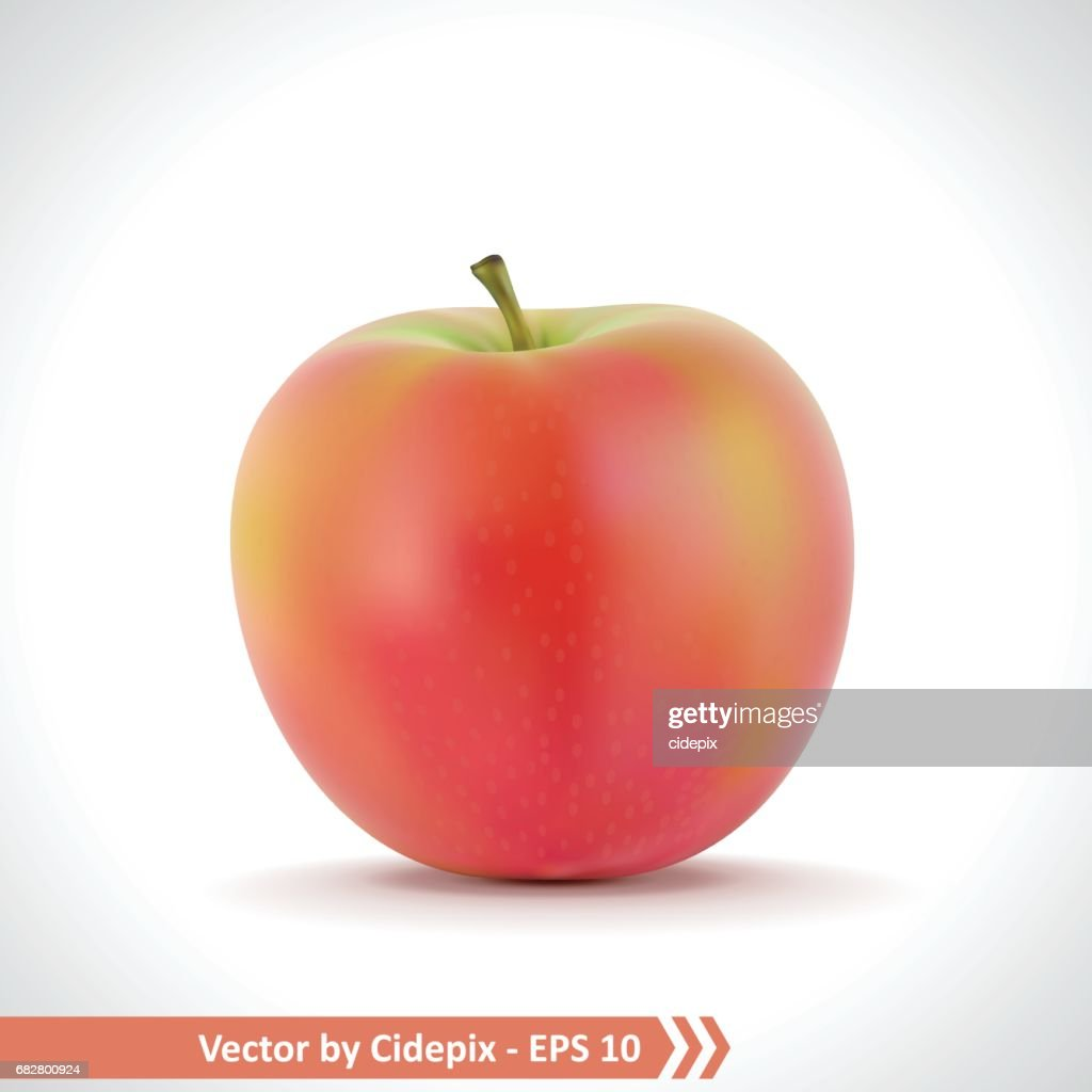 Realistic Illustration of A Red Apple