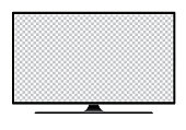 Realistic illustration of black TV with stand and blank transparent isolated screen with space for your text or image - vector