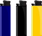 Realistic illustration three colored lighter