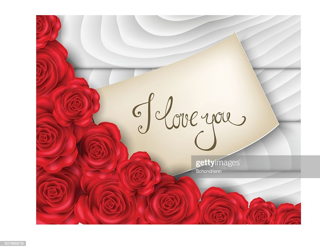 Realistic illustration with roses and love note