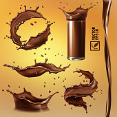 3D realistic isolated vector set, different splashes of chocolate, cocoa or coffee, a transparent glass with a splash, a flowing stream, vortex