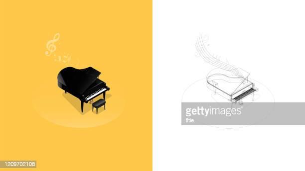 illustrazioni stock, clip art, cartoni animati e icone di tendenza di illustrazione isometrica realistica del pianoforte a coda nero - cantare