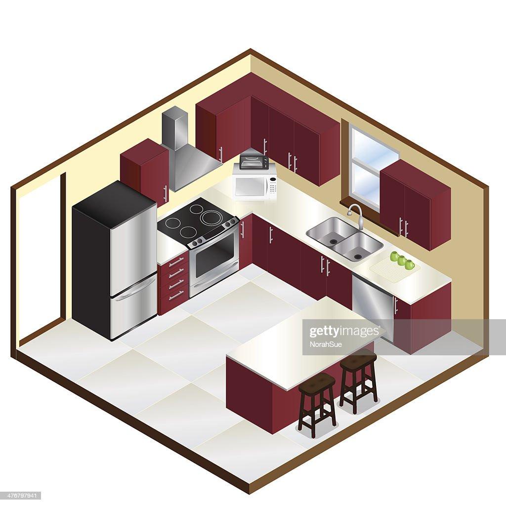 Realistic Isometric Kitchen