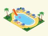 Realistic isometric outdoor waterpool.