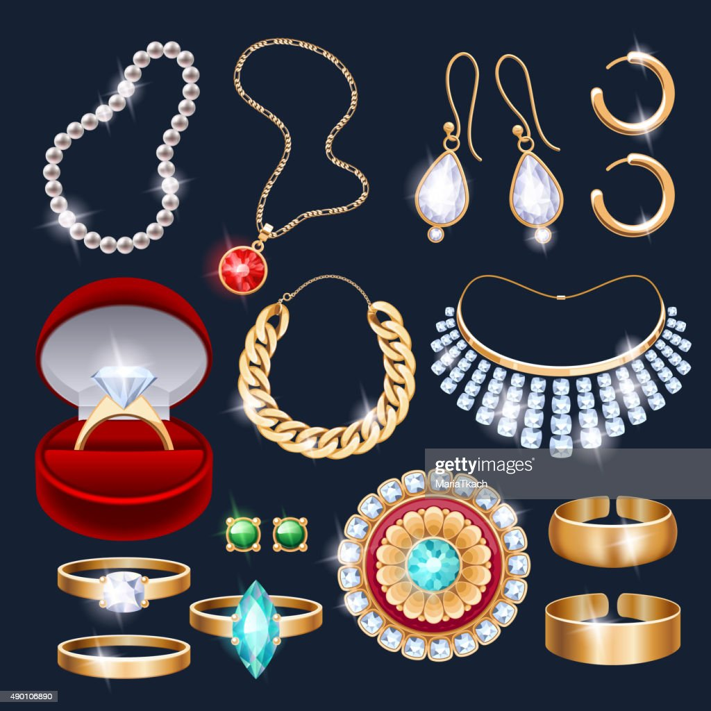 REalistic jewelry accessories icons set
