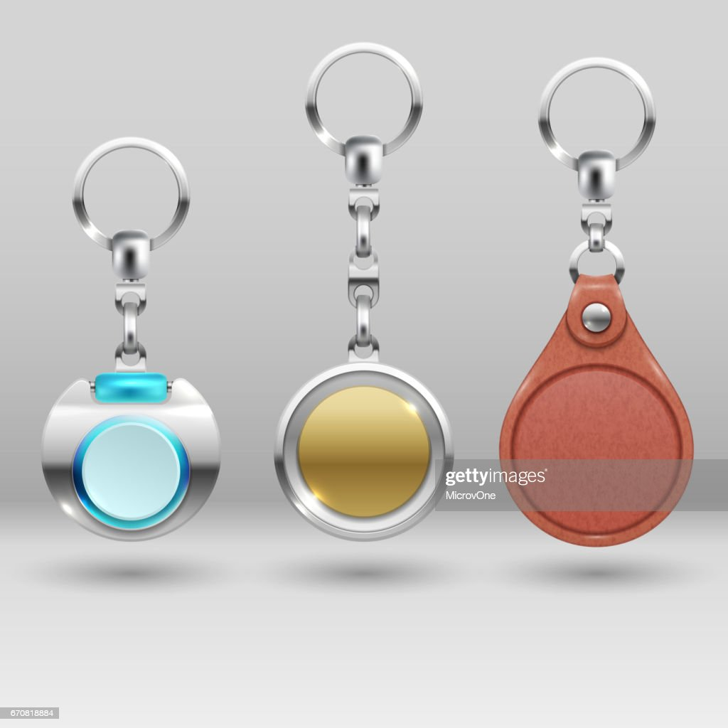 Realistic keychains. Vector car key holders set