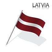 Realistic Latvian flag, vector illustration