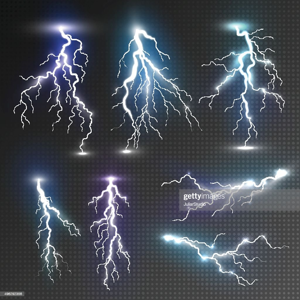 Realistic lightnings set