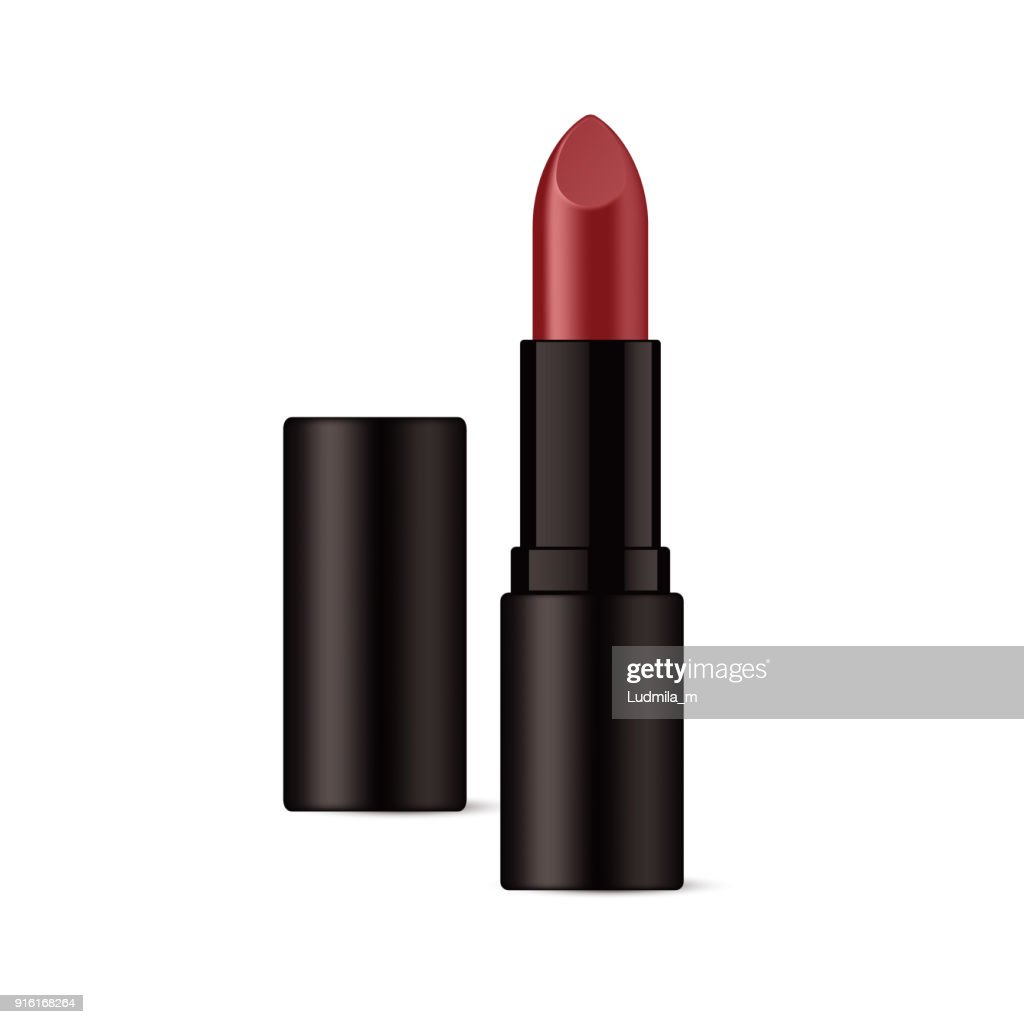 Realistic lipstick in glossy black packaging.