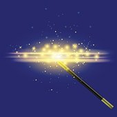 Realistic Magic Wand with Starry Lights
