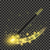 Realistic Magic Wand with Yellow Starry Lights