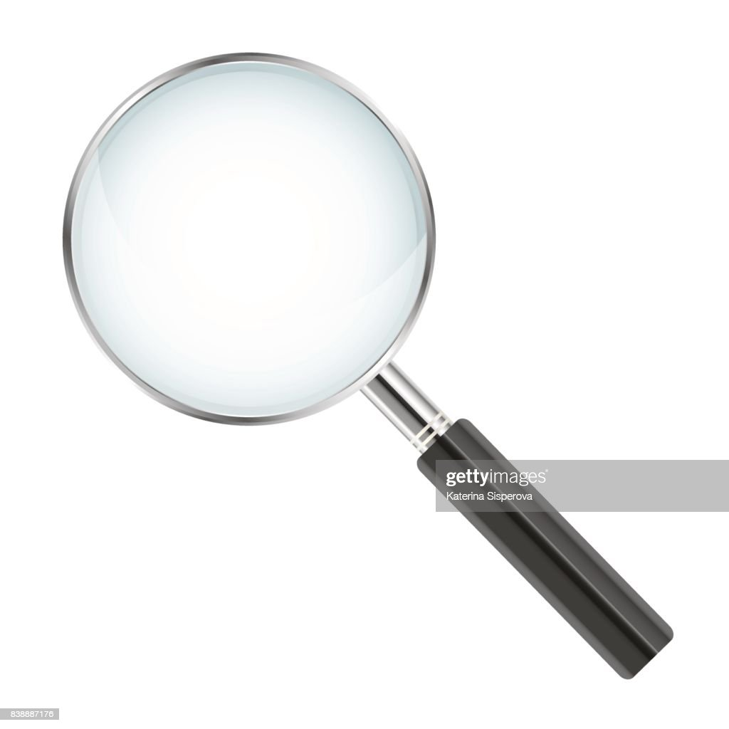 Realistic magnifier isolated on white background - vector illustration