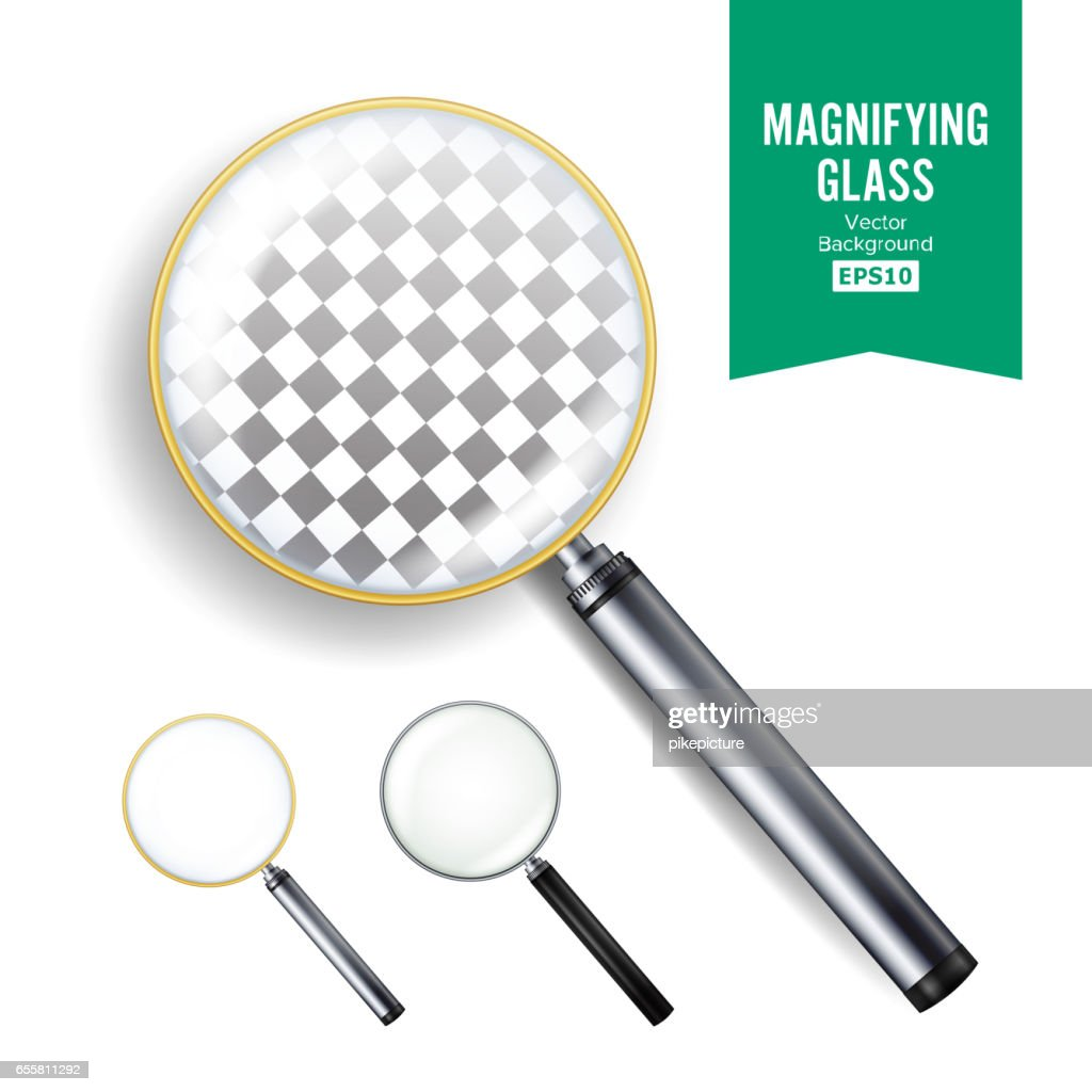 Realistic Magnifying Glass Vector. Set Of Different Magnifying Glass. Different Colors Of lenses And Handles