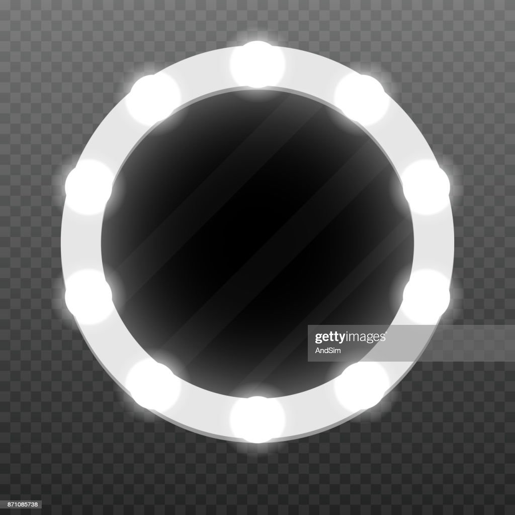 Realistic makeup mirror with bulbs. Vector illustration.