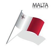 Realistic Maltese flag, vector illustration