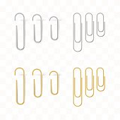 Realistic metal and gold paper clips set. Isolated and attached