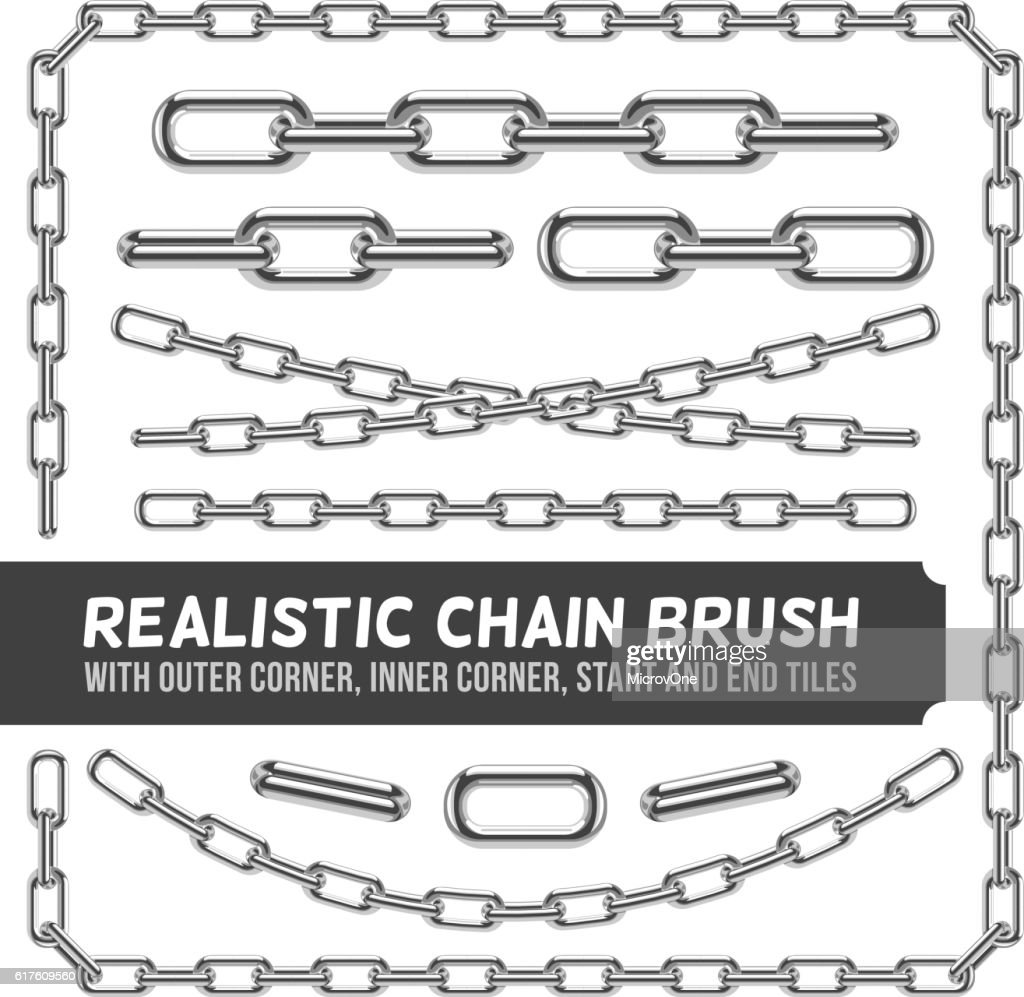 Realistic metal chain set, vector silver chains