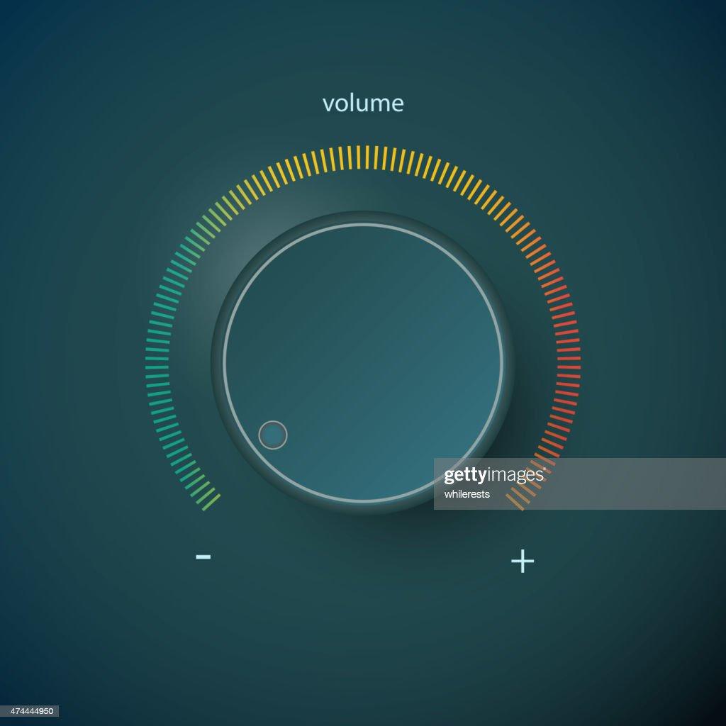 Realistic metal control panel tumbler. Music audio sound volume knob
