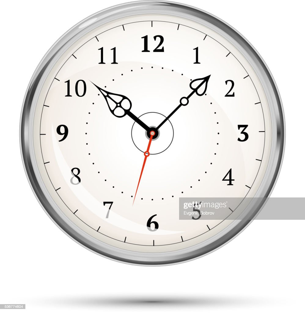 Realistic metal glossy clock on white