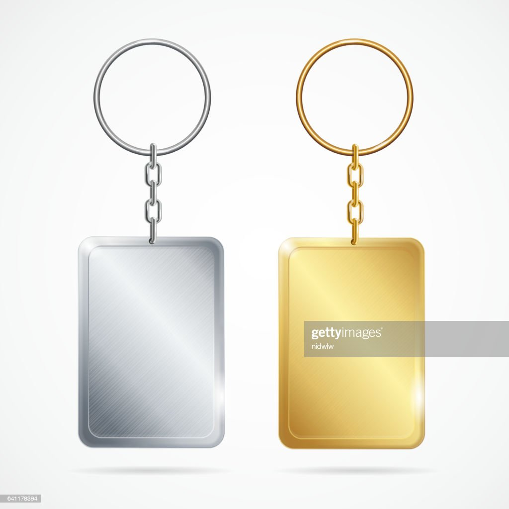 Realistic Metal Keychains Set. Vector