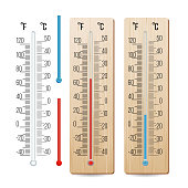 Realistic Meteorological Thermometer Vector. Rred And Blue. Different Levels. Isolated Illustration