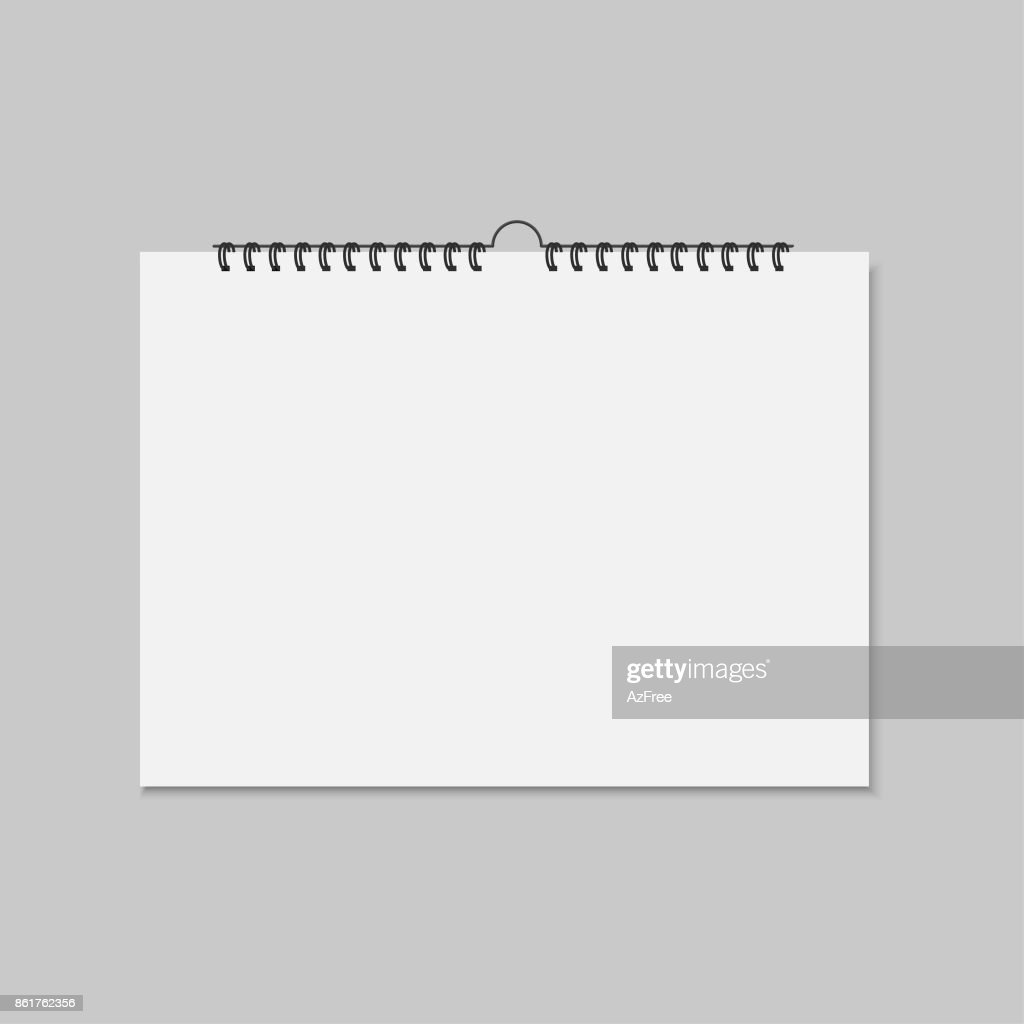 Realistic mockup blank wall calendar. Vector illustration.