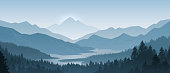 Realistic mountains landscape. Morning wood panorama, pine trees and mountains silhouettes. Vector forest background