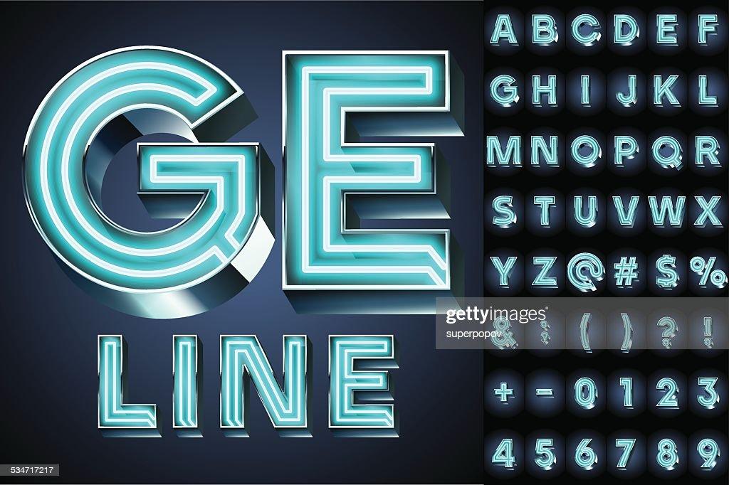Realistic neon tube alphabet for light board