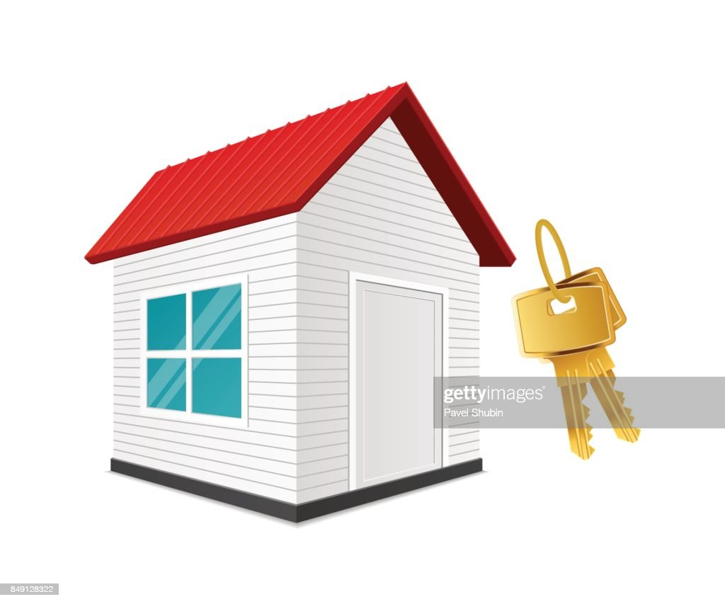 Realistic new house with keys.