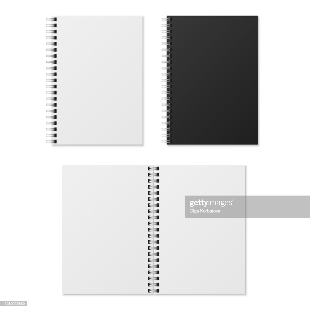 Realistic notebook. Blank open and closed spiral binder notebooks. Paper organizer and diary vector template isolated