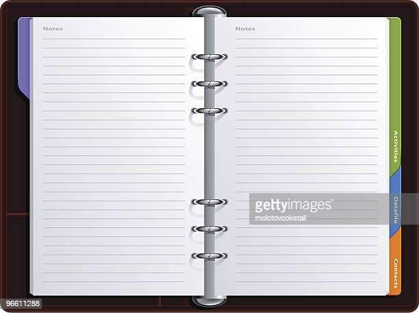 realistic notebook - organização stock illustrations