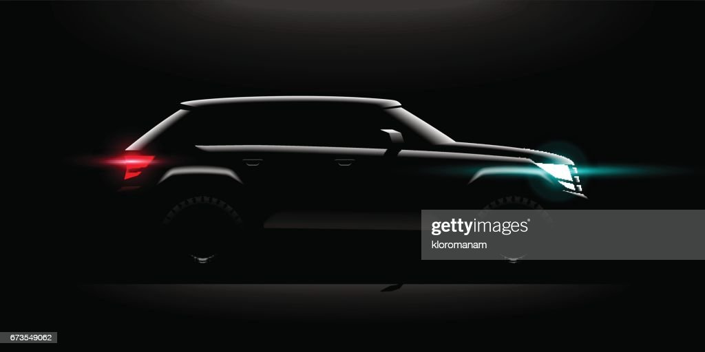Realistic Off-road car lit in the dark
