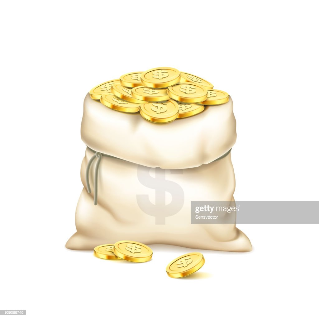 A realistic old bag with heap of gold coins isolated on white background. Pile of golden coins. A bag with dollar sign. Cash prize vector concept. Wealth and money accumulation theme. 3d illustration