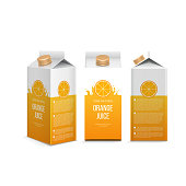 Realistic orange juice box in different projections