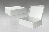 Realistic packaging boxes. Open mock up blank package, white square paper cardboard. Empty carton pack vector template