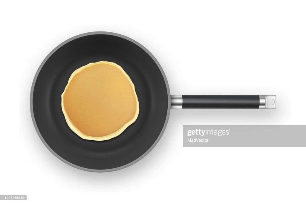 フライパン クローズ アップ ホワイト バック グラウンド、平面図上で分離の現実的なパンケーキ。朝食は、デザイン テンプレート食品メニューと自家製のコンセプト : ストックイラストレーション