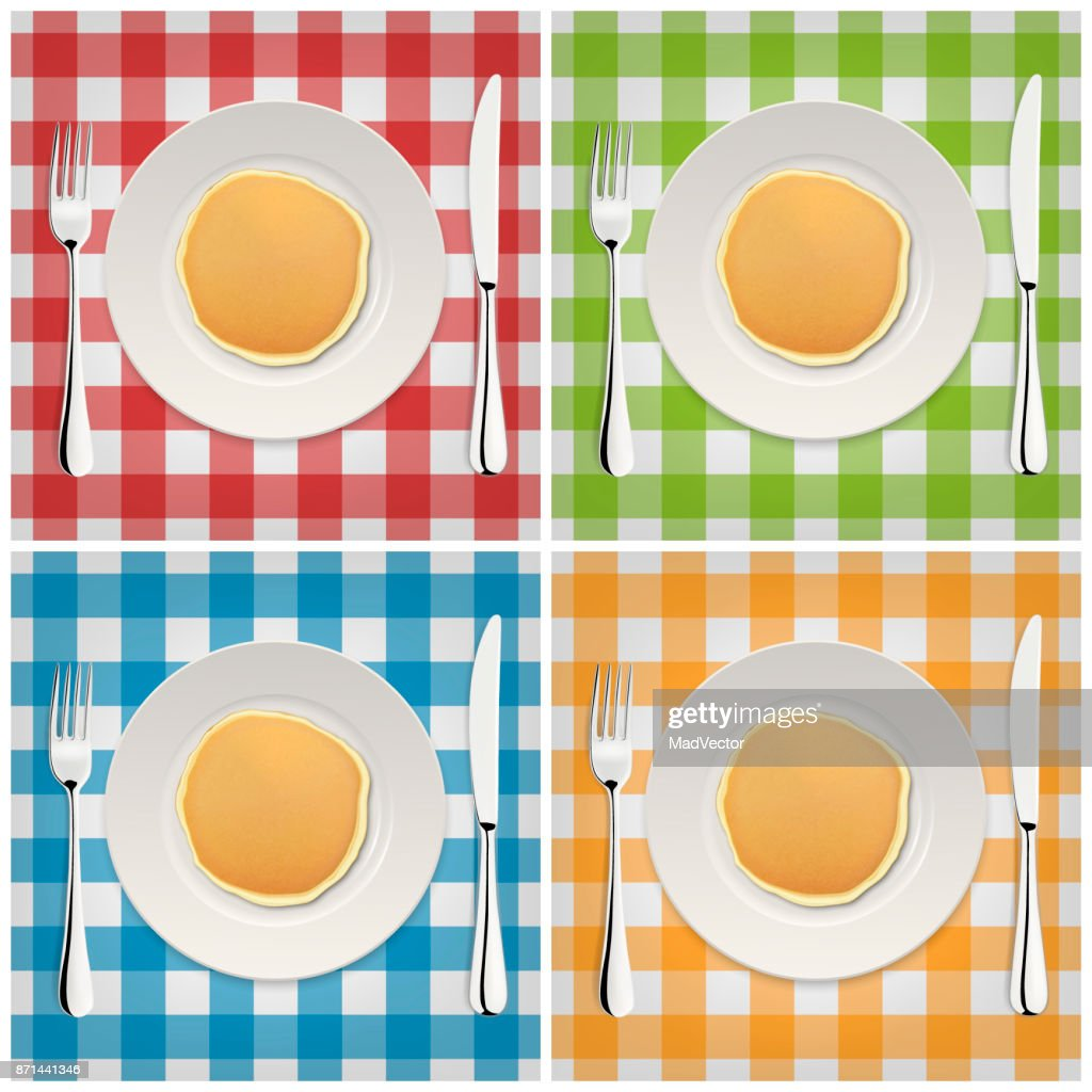 Realistic pancake on a white plate with fork and knife, icon set. Closeup, top view. Design template for breakfast, food menu and homestyle concept. Vector EPS10 illustration