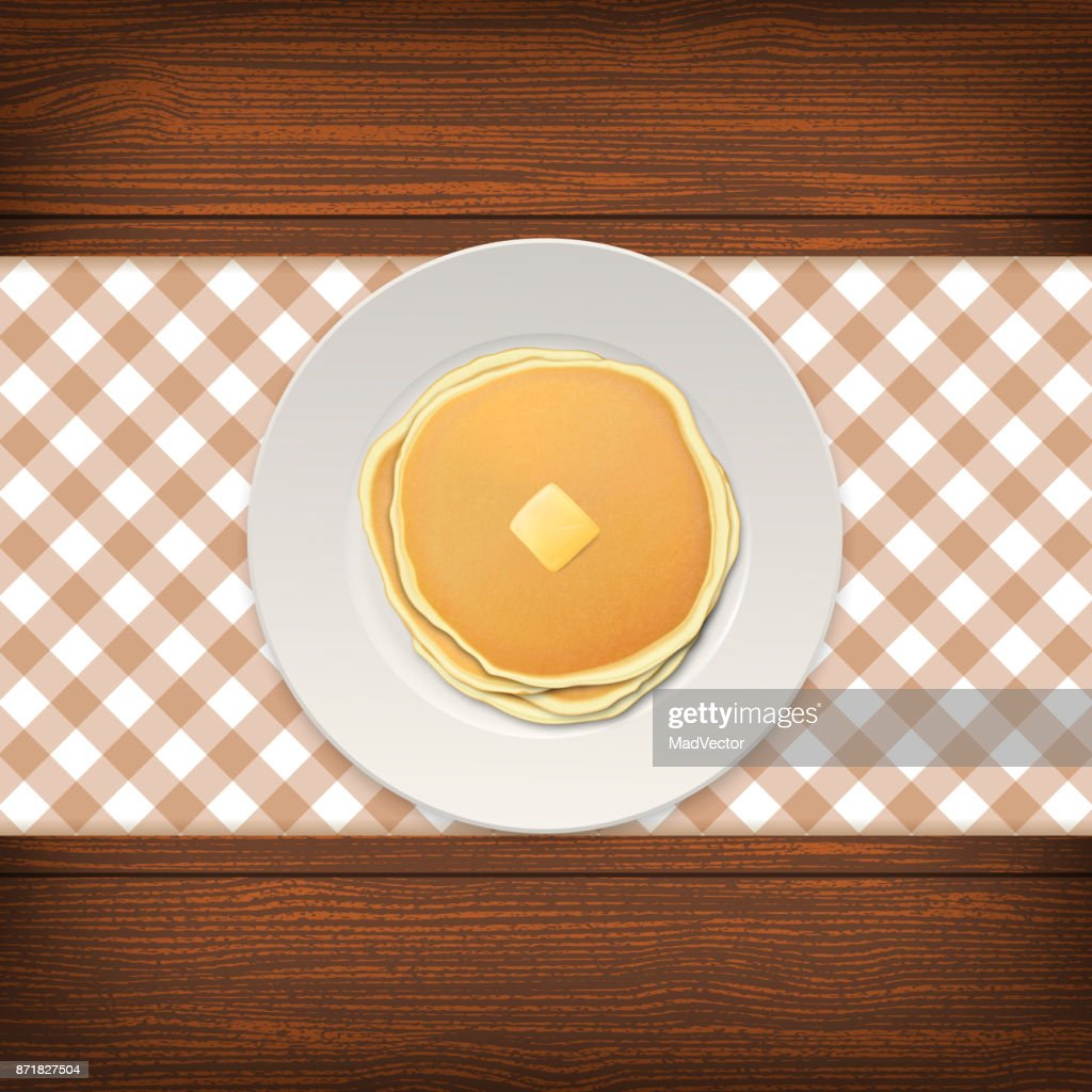 Realistic pancake with a piece of butter on a white plate closeup on wood background, top view. Design template for breakfast, food menu and homestyle concept. Vector EPS10 illustration