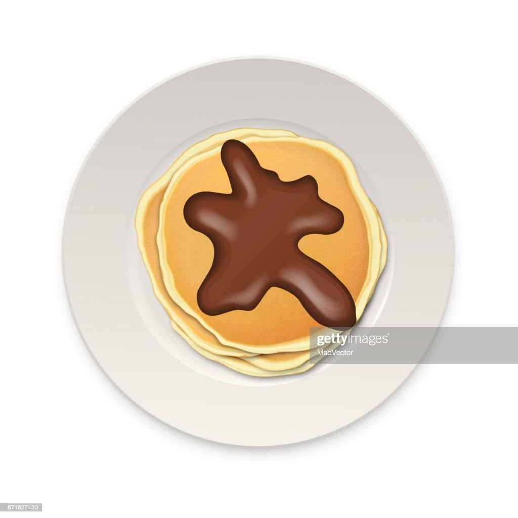 Realistic pancake with chocolate on a white plate closeup isolated on white background, top view. Design template for breakfast, food menu and homestyle concept. Vector EPS10 illustration