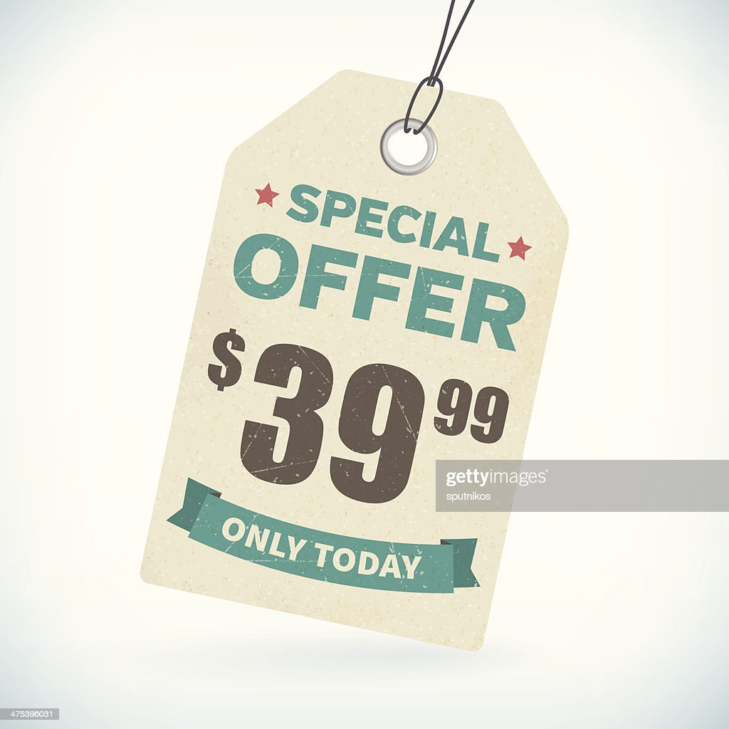 Realistic paper special offer price tag