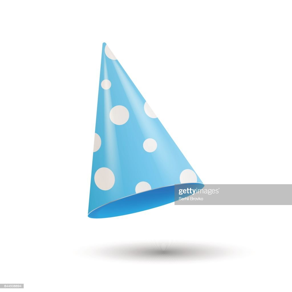 Realistic Party hat. 3d vector illustration isolated on white background.