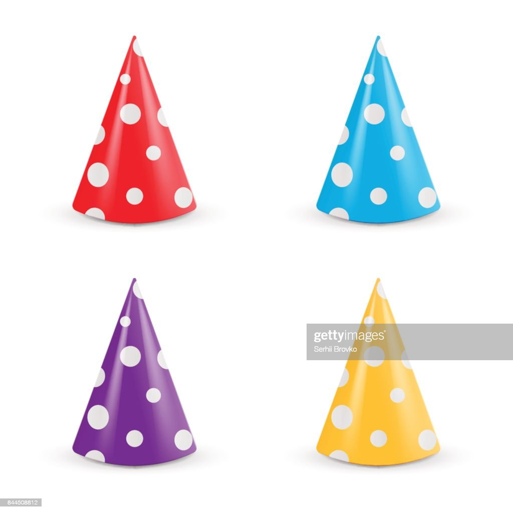 Realistic Party hat set. Collection 3d vector illustration isolated on white background.