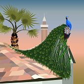 Realistic peacock on a tiled roof on the background of a sunset