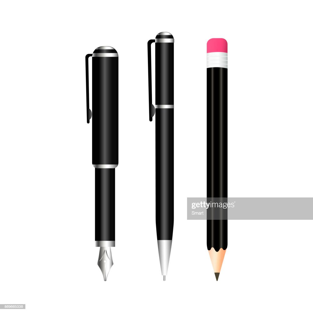 Realistic pen and pecil on white background