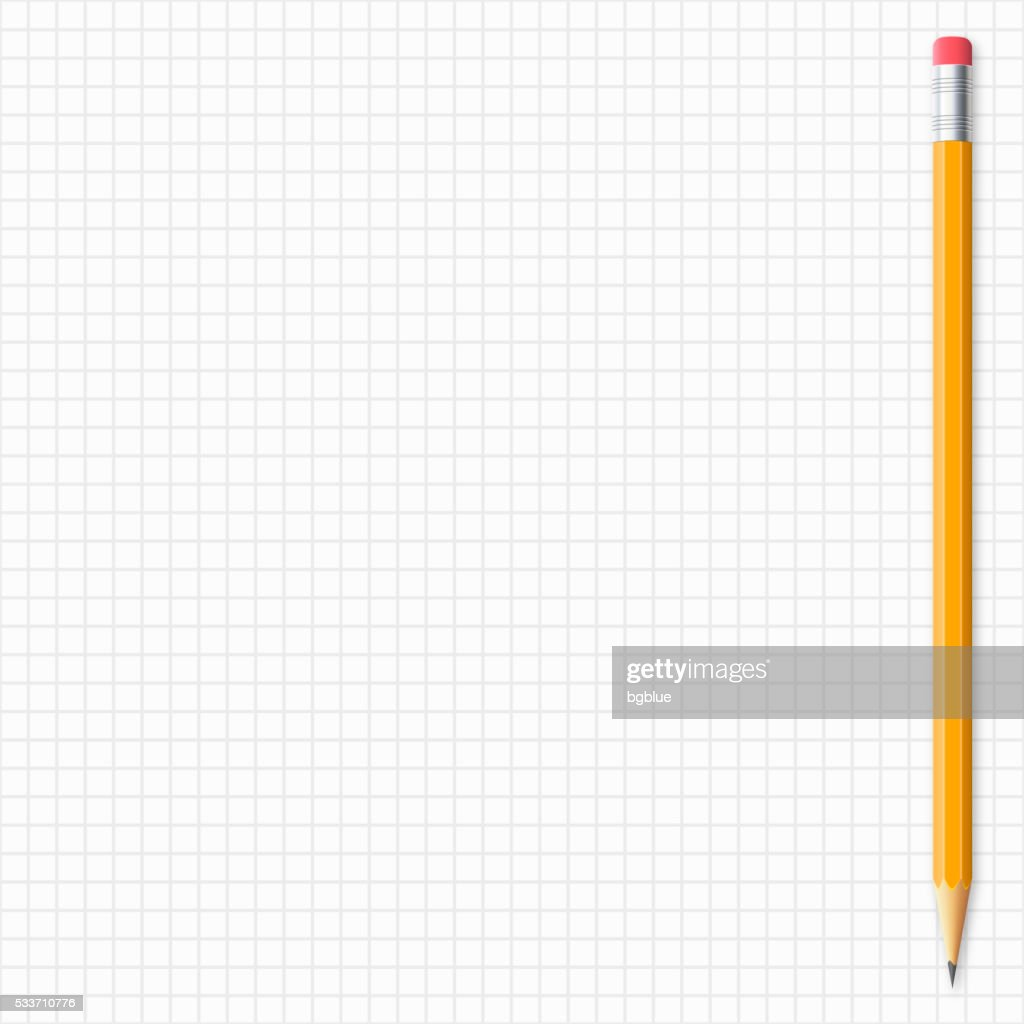 Realistic pencil isolated on grid paper