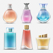 Realistic perfume and scented toilet water bottles vector set