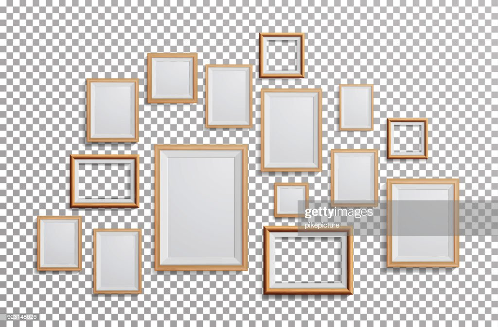 Realistic Photo Frame Vector. Set Square, A3, A4 Sizes Light Wood Blank Picture Frame, Hanging On Transparent Background From The Front. Design Template For Mock Up