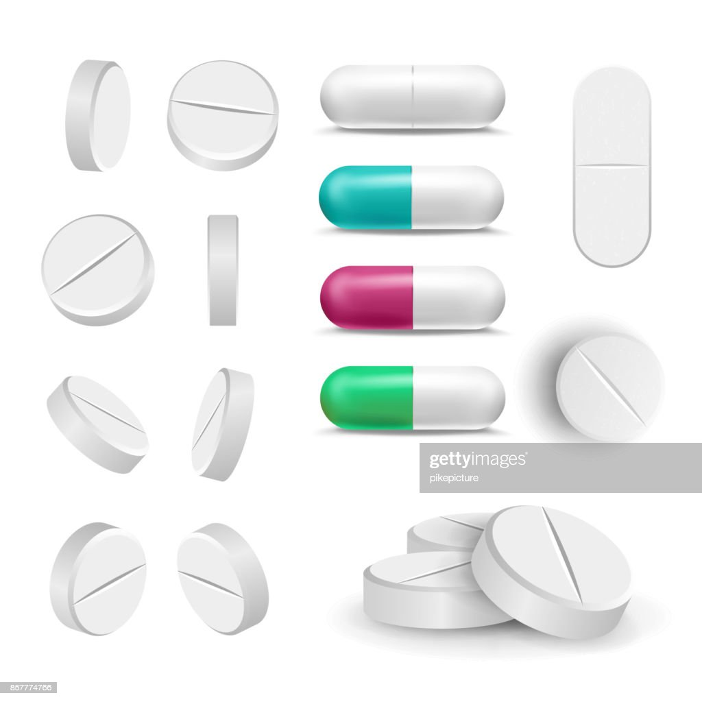 Realistic Pills And Drugs Set Vector. Painkiller, Pharmaceutical Antibiotics. Isolated Illustration